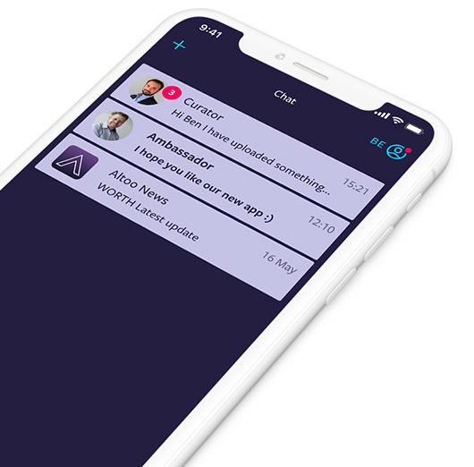 Screenshot von Nachrichten von Altoo auf einem Mobilgerät